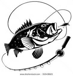 Stock vector illustration of. Bass clipart fishing rod