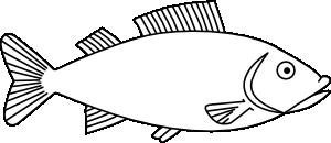 Fish outline clip art. Bass clipart milkfish