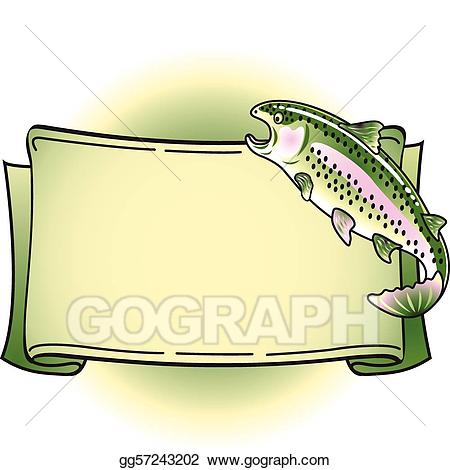 Bass clipart rainbow trout. Vector illustration tattoo banner
