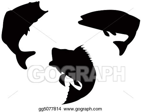 Bass clipart silhouette. Stock illustration gg