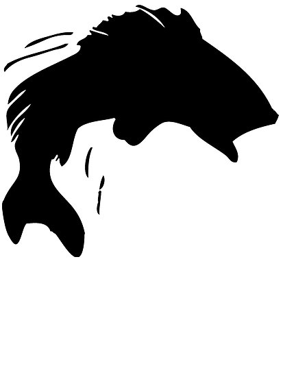 Fishing . Bass clipart silhouette
