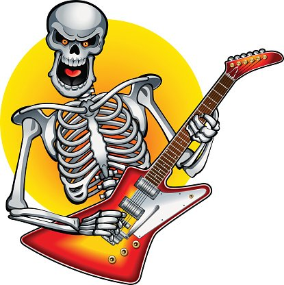 Bass clipart skeleton. Playing rock on electric