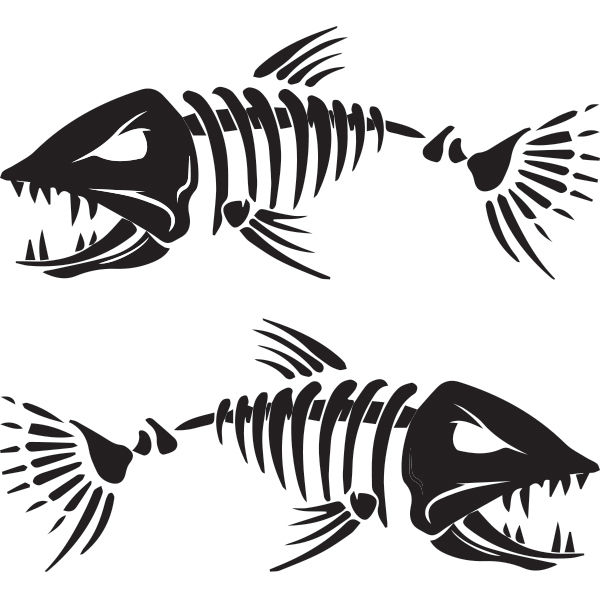 angry muskie decal. Bass clipart skeleton