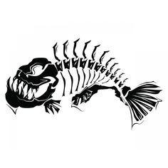 Bass clipart skeleton. Fish modern art i