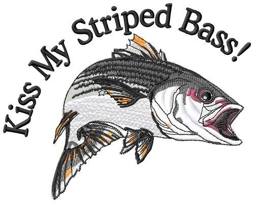 Animals embroidery design kiss. Bass clipart striped bass