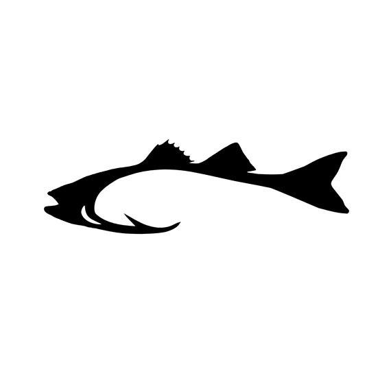 Bass clipart striped bass. Hook shaped fishing vinyl