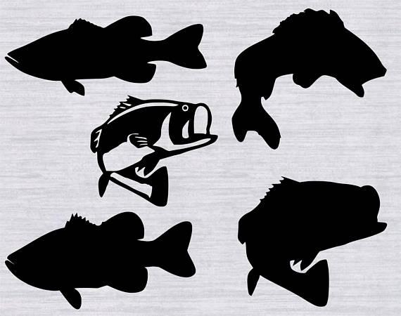 Bundle fishing cutting template. Bass clipart svg