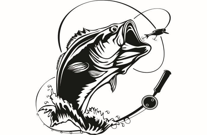 Fishing logo angling fish. Bass clipart svg