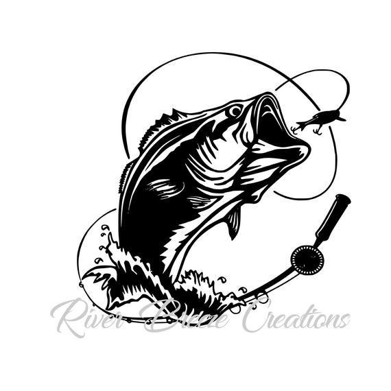 Fish silhouette cricut large. Bass clipart svg