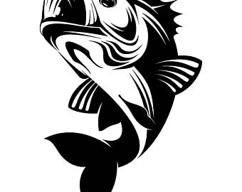 Bass clipart svg. Fish cuttable etsy fishing