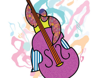 Cello clipart string bass. Upright art etsy