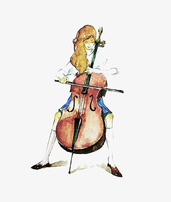 Watercolor girl png image. Cello clipart cellist