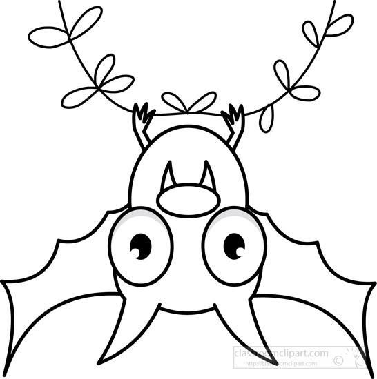 Black and white search. Bat clipart line art