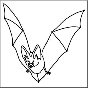 Clip b w i. Bat clipart line art