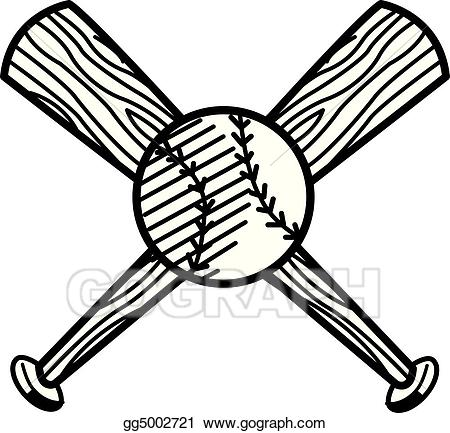 Bat clipart line art. Vector baseball and sports