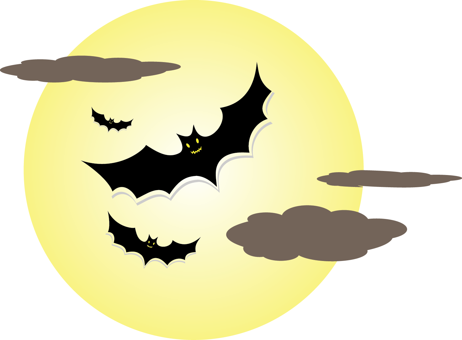collection of bat. Night clipart lunar