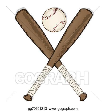 Vector illustration baseball and. Bat clipart vintage