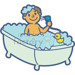 Boy taking a cartoon. Bath clipart