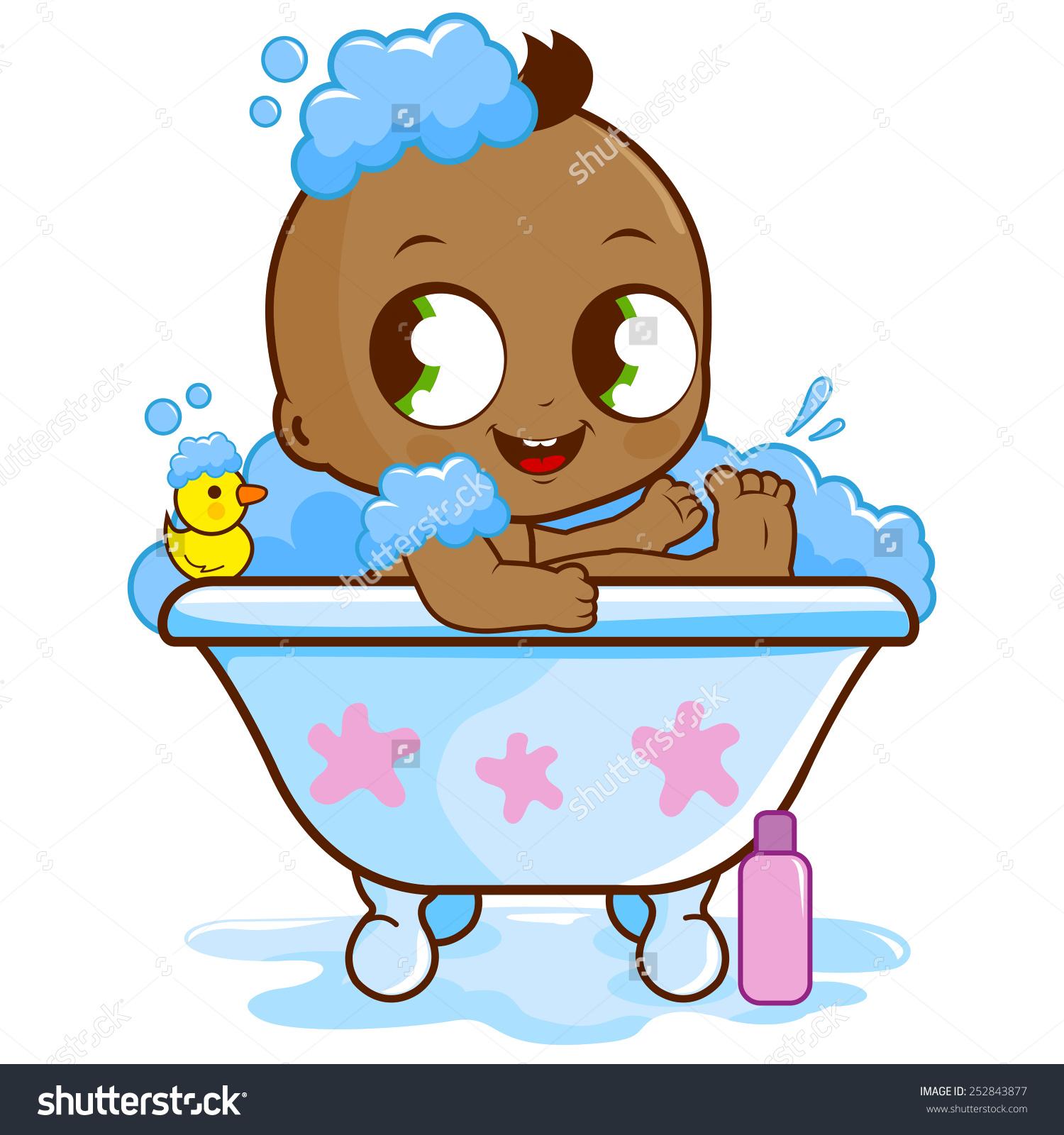 Bath clipart animated. Black boy take a