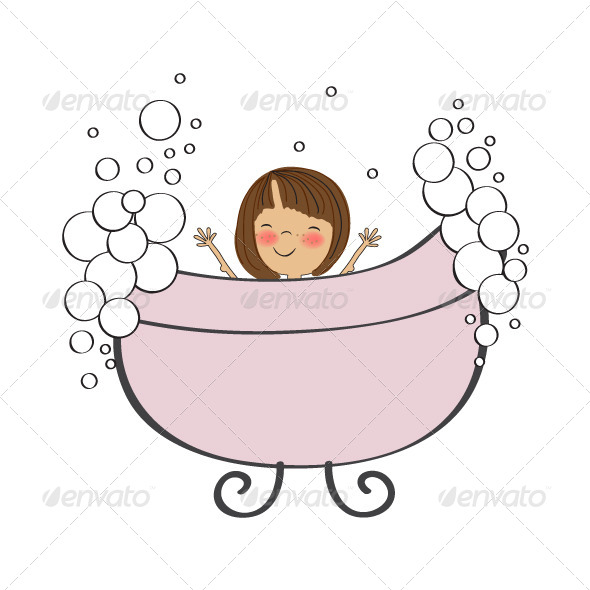 Bath clipart baby girl. In the tub by
