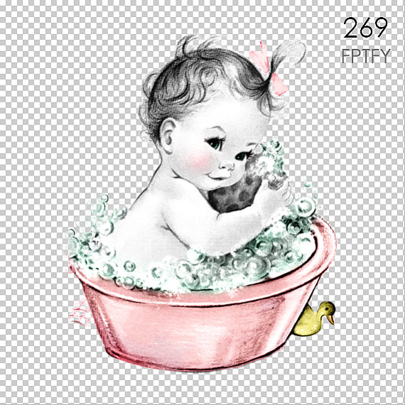 Bath clipart baby girl. Adorable vintage in bubble