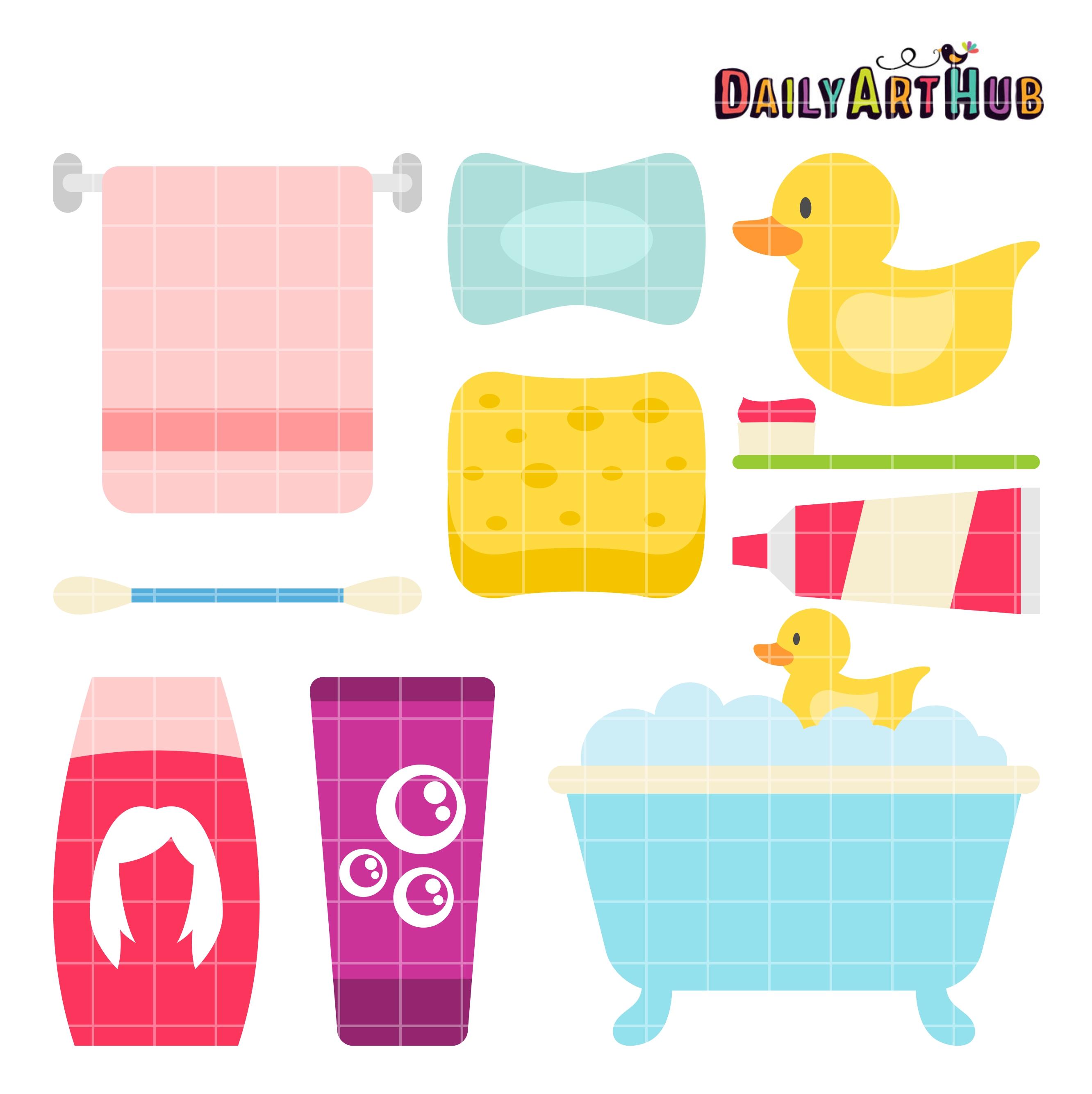 Time clip art set. Bath clipart bath daily