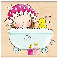 Girl . Bath clipart bath time
