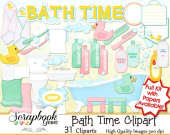 Bath clipart bathroom. Etsy time png files