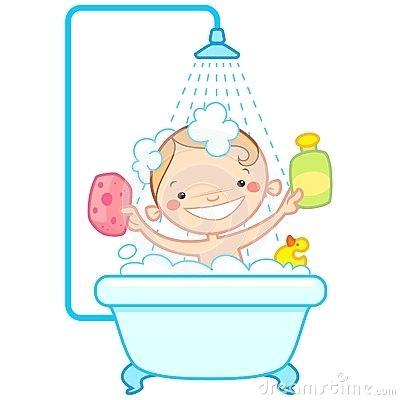 Bath clipart bathroom. Girl taking in the