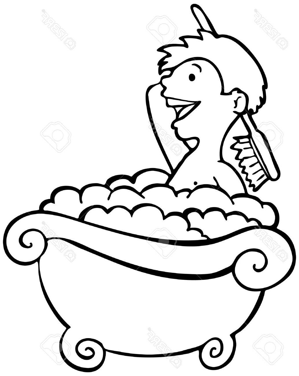 Best child taking a. Bath clipart black and white