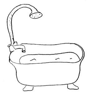 Writings essays bathroom for. Bath clipart black and white