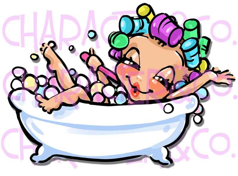 Bathtub clipart foam bath. Cute girl enjoying bubble
