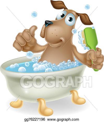 Bath clipart cartoon. Vector stock dog in