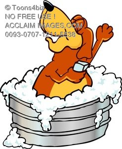 Bath clipart cartoon. Illustration dog character taking