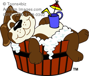 Puppy relaxing while taking. Bath clipart cartoon