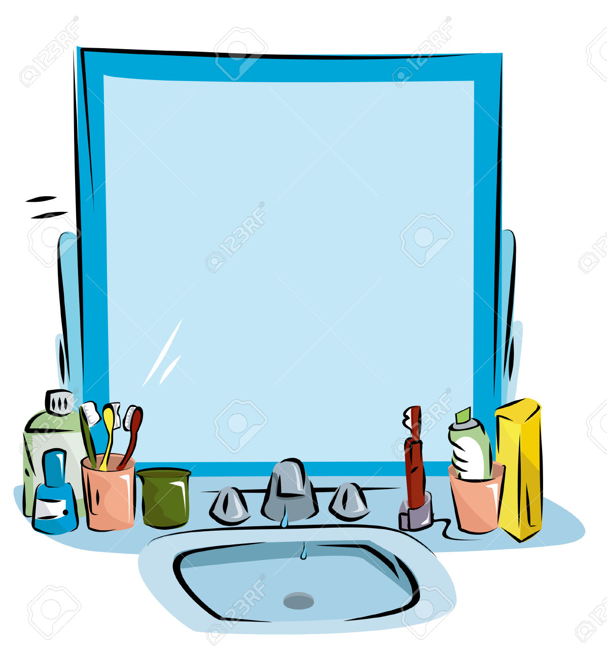 Mirror bathroom sink pencil. Bath clipart cartoon