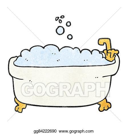 Vector art textured bathtub. Bath clipart cartoon