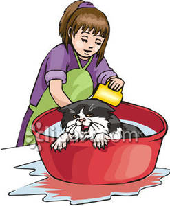 A girl giving royalty. Bath clipart cat