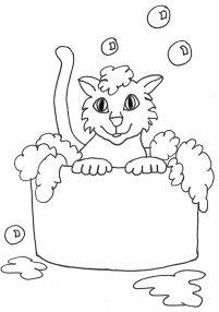 Clip art sketches drawings. Bath clipart cat