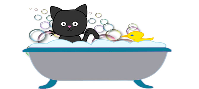 How to give your. Bath clipart cat