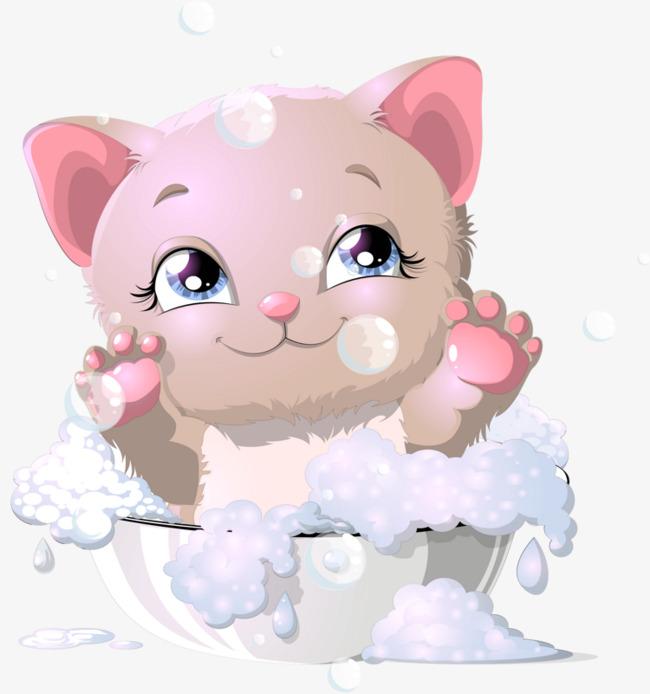 Bath clipart cat. Hand painted kitty bathe