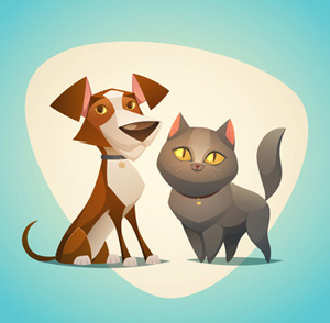 Brown and white dog. Bath clipart cat