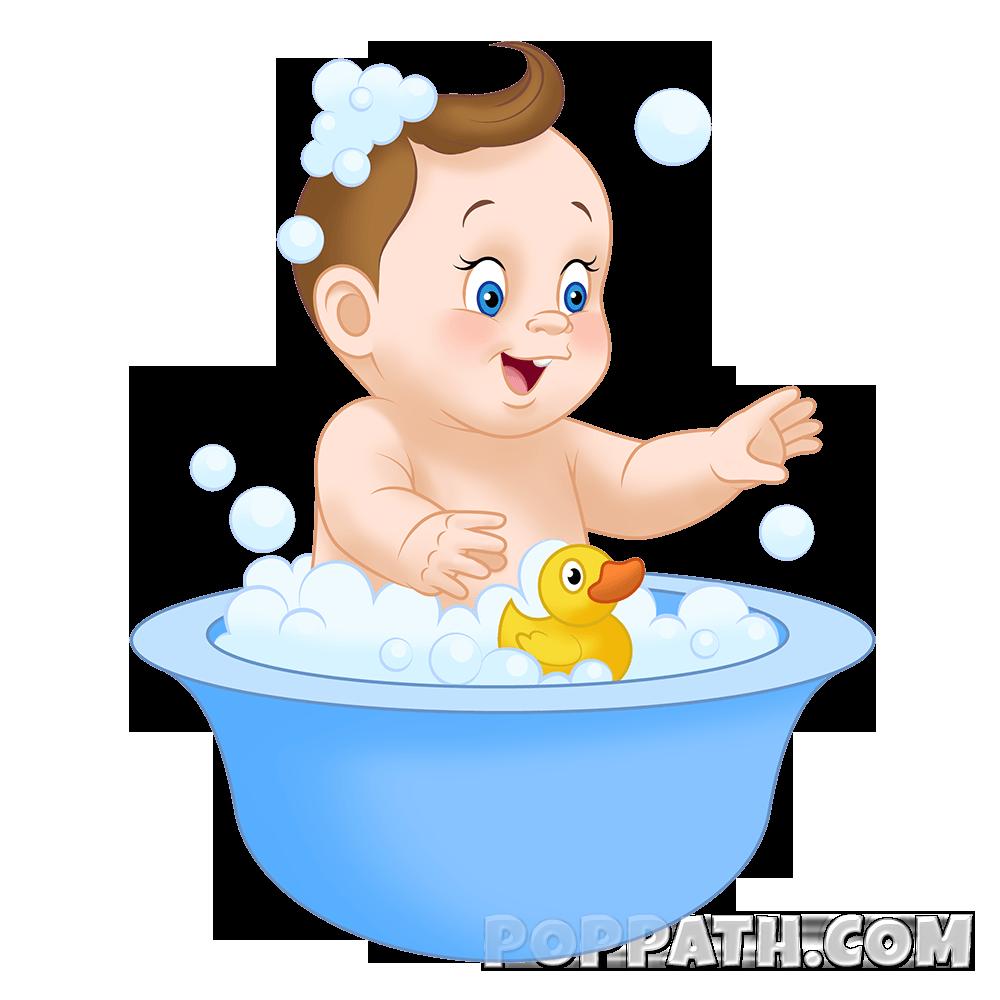 Amusing bath child taking. Lady clipart bathing
