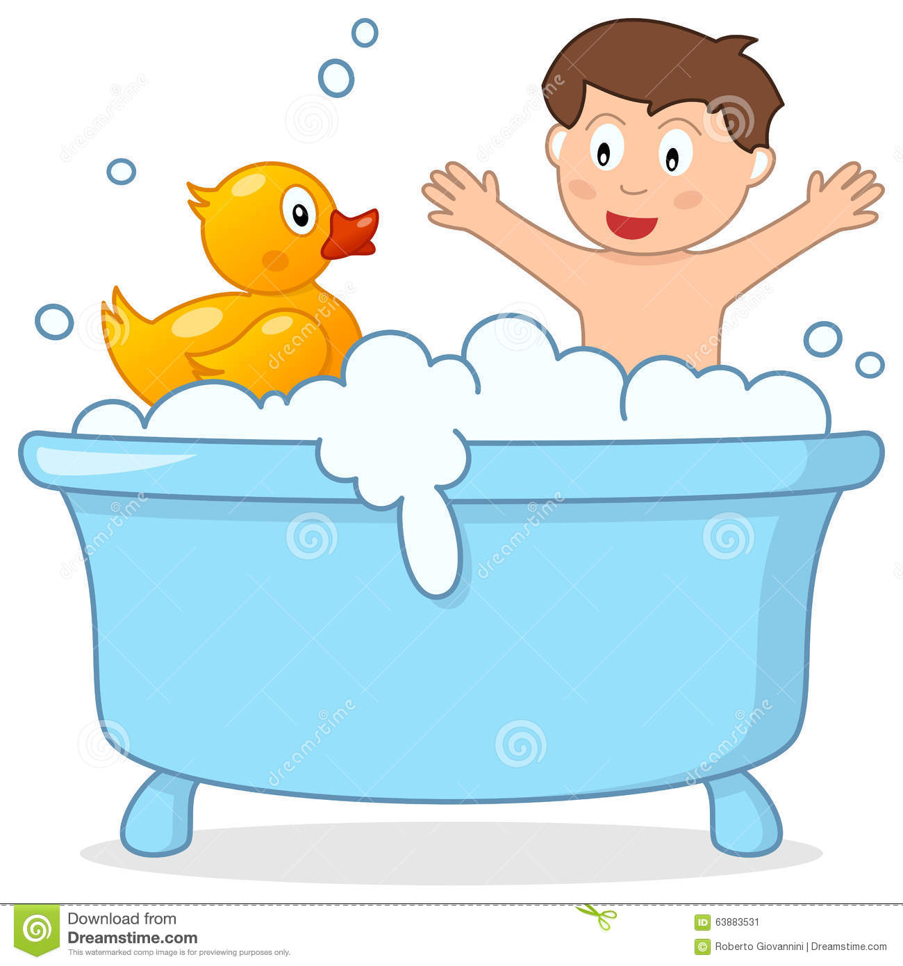 Taking a station . Bath clipart child