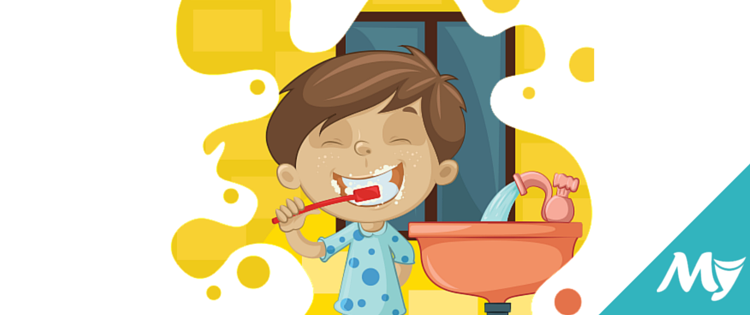 Bathroom vocabulary with pictures. Body clipart illustration