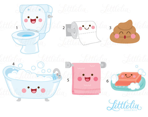 Bath clipart cute. Bathroom kawaii