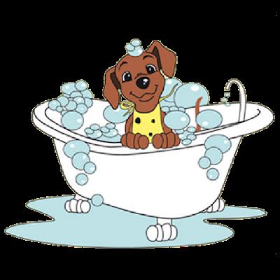 Bathtub cartoon home design. Bath clipart dog bath