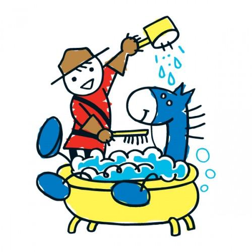 Lil mountie giving a. Bath clipart horse