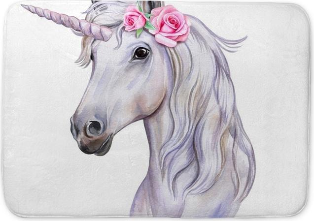 Unicorn with a wreath. Bath clipart horse