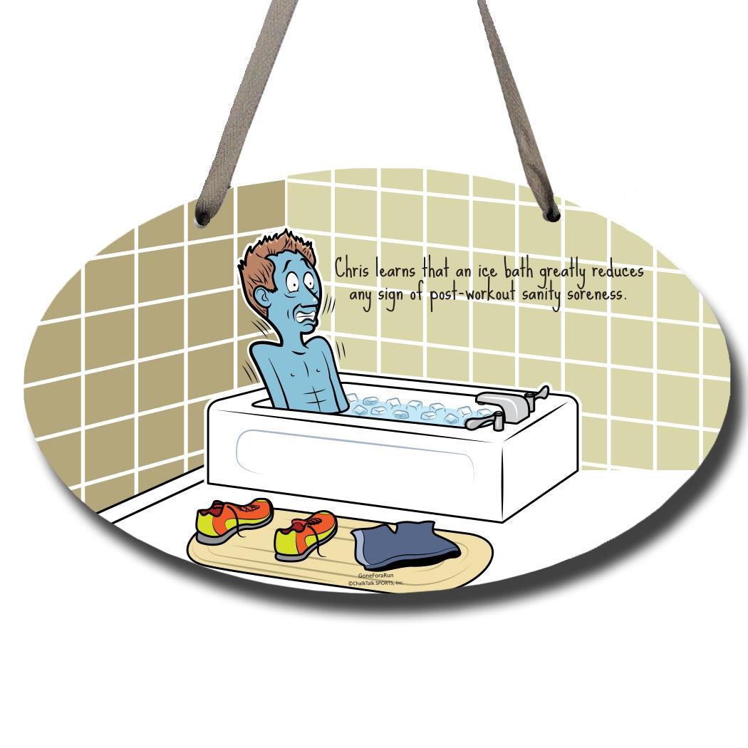 Running decorative oval sign. Bath clipart ice bath